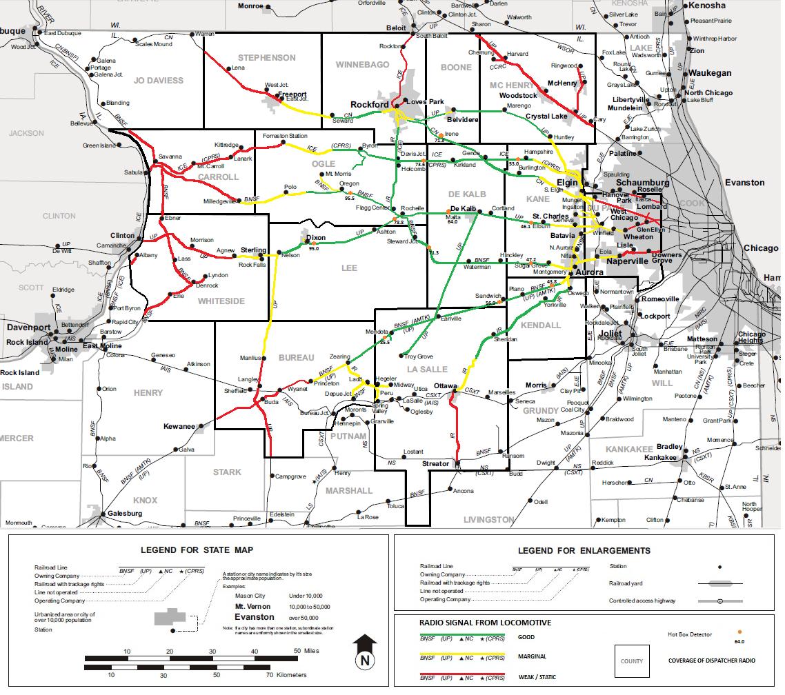 Northern Illinois Railroads Coverage Map - Map of northern illinois